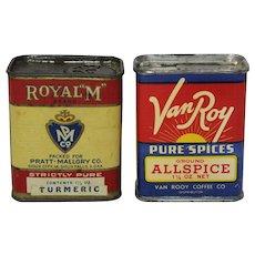 """Priced as Pair: 'Van Roy' & 'Royal """"M"""" Brand ' Vintage Spice Tins"""