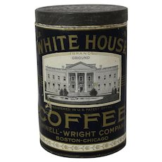 Early 1 lb. Paper Labeled White House Brand Coffee Tin
