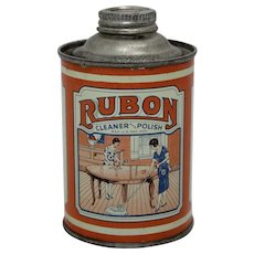 "Late 1930's, Early 40's ""Rubon"" Cleaner & Polish Litho Tin"