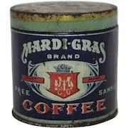 Early 1900's Free Sample Mardi-Gras Brand Coffee Tin