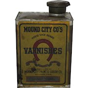Turn of Century Mound City Co's  'Horse Shoe Brand' Varnish Can