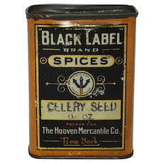 Rare 1900-1920 'Black Label' Celery Seed Tin Spice Container