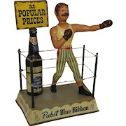 1950's  'Pabst Blue Ribbon Beer' Cast Metal Boxing Ring with Boxer Display