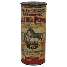 Early 'Dr. LeGear's Antiseptic Healing Powder' Cardboard Container