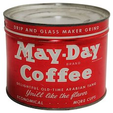 Vintage Unopened Key Wind 'May-Day' Litho Coffee Can