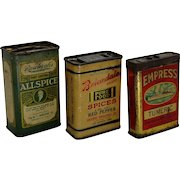 Thee Assorted, Empress, Briardale, & Raleigh's  Early 1900's Litho Spice Tins