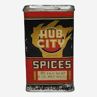 Early 1900's Central Wisconsin 'Hub City' Litho Tin Spice Container