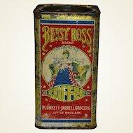 Rare Early 1900's Arkansas 'Betsy Ross' 1 lb. Litho Coffee Tin