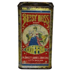 Rare Early 1900's Arkansas 'Betsy Ross' 1 lb. Litho Coffee Tin