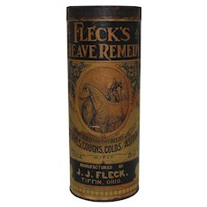 Very Early 1900's Cardboard Container of Fleck's Heave Remedy for Horses