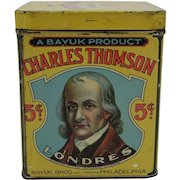 1920's Charles Thomson Londres 5 Cents Cigars Litho Tin