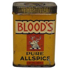 Early 1900's 'Blood's' Pure Allspice' Litho Spice Tin