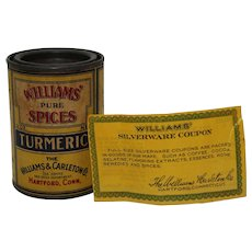 "Rare Turn of Century 'Williams Pure Spices"" Turmeric Spice Container"