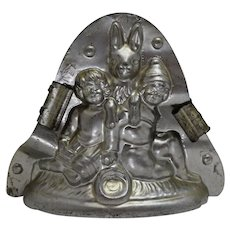 """Vintage German """"Heris"""" Easter Bunny with Two Small Children Chocolate Mold"""