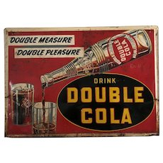 """Very Rare 1949 """"Drink Double Cola"""" Embossed 28"""" x 20"""" Metal Sign"""