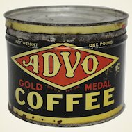 "Early Nebraska ""ADVO"" 1 lb. Key Wind Litho Coffee Tin"