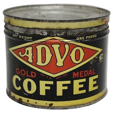 "Early Nebraska ""ADVO"" 1 lb. Key Wind Litho Coffee Tin"