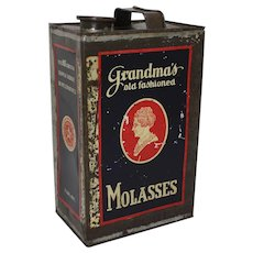 Turn of Century 'Grandma's Old Fashioned Molasses' 1 Gal Litho Tin
