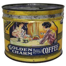 "Rare 'Golden Charm"" 1 lb. Key Wind Paper Labeled Coffee Tin"