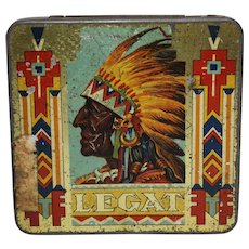 1920's French 'Legat Brand' Cigarillos Litho Tobacco Tin