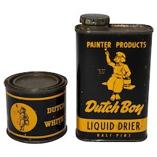 Vintage Dutch Boy Liquid Drier and White Lead Litho Tins