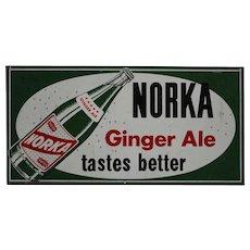 """1940-1962 Norka 'Ginger Ale""""  24""""x 32"""" Litho Metal Sign"""