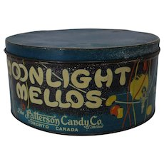 1930s Large 'Moonlight Mellos' Litho Marshmallow Tin