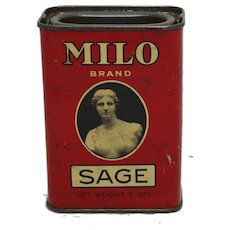 "Early 1900's ""Milo""  Sage Litho Spice Tin"