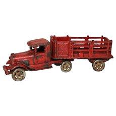 "Late 1920's A.C. Williams Large 10"" Coast to Coast Semi Truck & Stake Trailer"