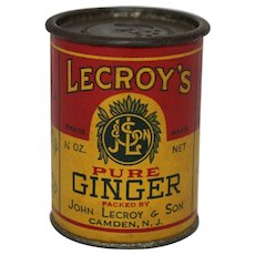 Early 1900's Lecroy's 3/4 oz Round Pure Ginger Spice Container