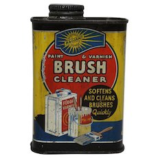 "Vintage ""Radiant"" 6 oz. Paint & Varnish Brush Cleaner Litho Tin"