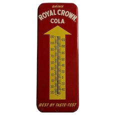 """1957 """"Drink Royal Crown Cola""""  25 1/2"""" Tall Metal Thermometer"""