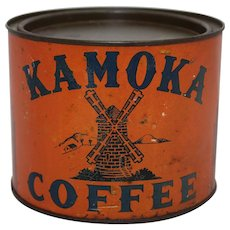 Rare Late 1800's 'KAMOKA' One Pound Litho Coffee Tin