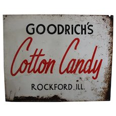 "1950's, 60's Rockford, Illinois ""Goodrich's Cotton Candy"" Large Metal Sign"