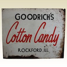 """1950's, 60's Rockford, Illinois """"Goodrich's Cotton Candy"""" Large Metal Sign"""