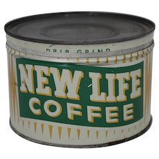 "Vintage ""New Life Coffee"" 1 lb Litho Key Wind Coffee Tin"