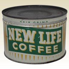 "Vintage ""New Life Coffee"" 1 lb Litho Key Wind Coffee Tin"