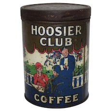 "Very Rare, Early 1900's ""Hoosier Club Coffee"" Litho Tin"