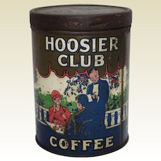 "Very Rare, Early 1900's ""Hoosier Club Coffee"" Litho Tin"
