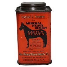Circa: 1901-1921 'Mineral Heave Remedy for Horses' Veterinary Litho Tin