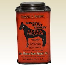 Early 1900's 'Mineral Heave Remedy for Horses' Veterinary Litho Tin