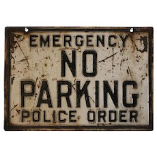 Old Embossed Heavy Metal, St. Louis, Mo. 'No Parking' Sign