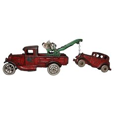 "1929 Arcade 7 1/2"" Ford Wrecker Complete with Austin Coup Tow Car"