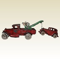"""1929 Arcade 7 1/2"""" Ford Wrecker Complete with Austin Coup Tow Car"""