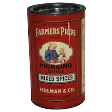 "Early 1900's ""Farmer's Pride"" Pickling Mixed Spices Container"