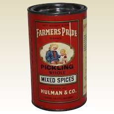 """Early 1900's """"Farmer's Pride"""" Pickling Mixed Spices Container"""