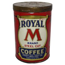 "Vintage 'Royal ""M"" Brand' 1 lb. Litho Coffee Tin"