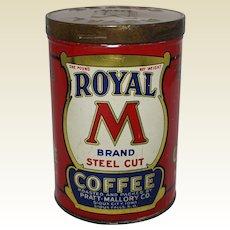 "Vintage 'Royal ""M"" Brand' 1 lb. Litho Coffee Tin"