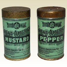 Early  'Great American Tea Company' Mustard and Pepper Spice Tins