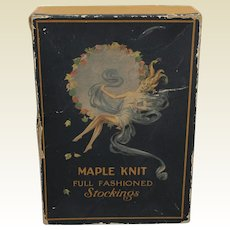 Early 1900's 'Maple Knit' Full fashioned Stockings Box